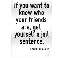 If you want to know who your friends are, get yourself a jail sentence. Poster