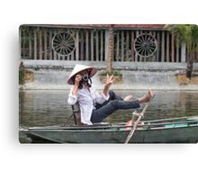 Vietnamese Photographer Boat Lady  Canvas Print
