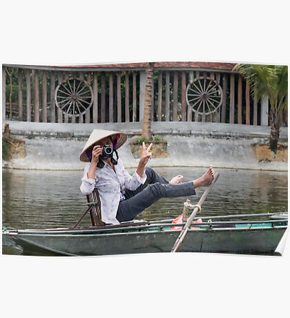 Vietnamese Photographer Boat Lady  Poster