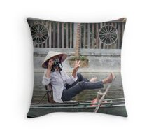 Vietnamese Photographer Boat Lady  Throw Pillow