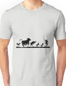Funny Dancing Animals Cow Chicken Goat Silhouette Unisex T-Shirt