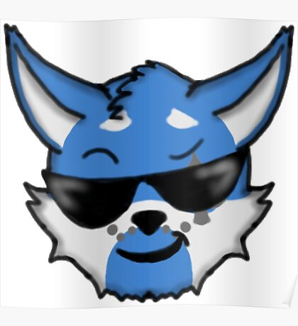 Wolf Furry Cool Face Emoji Poster
