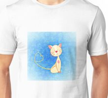 Adorable Pastel Blue Cat with Heart Unisex T-Shirt