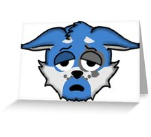Wolf Furry Tired Face Emoji Greeting Card