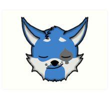 Wolf Furry Smirking Face Emoji Art Print