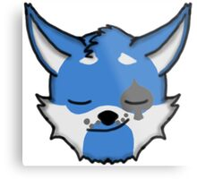 Wolf Furry Smirking Face Emoji Metal Print