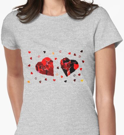 2 hearts Womens Fitted T-Shirt