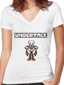 ❤ ♥ Undertale Papyrus Colored ♥ ❤ Women's Fitted V-Neck T-Shirt