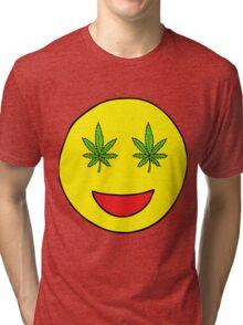 Smiley Weed Eyes Tri-blend T-Shirt