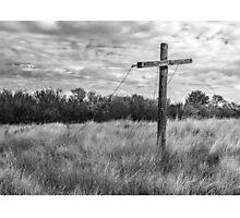 Prairie Clothesline - Black and White Photographic Print