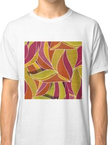 orange flowers \ leave pattern Classic T-Shirt