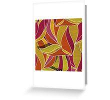 orange flowers \ leave pattern Greeting Card