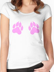 paw print chest decal Women's Fitted Scoop T-Shirt