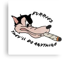 'Furries; they'll do anything' image decal Metal Print