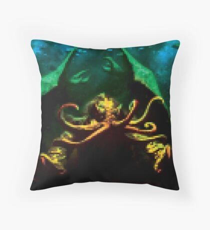 Pixelated Cthulhu Mythos Throw Pillow