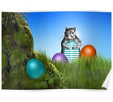 Easter Egg Hunting Squirrel Poster