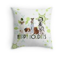 Holiday Dogs in Green Hues Throw Pillow