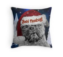Bah Humbug Pug Dog Throw Pillow