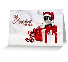 Red and White Christmas Kitty Greeting Card