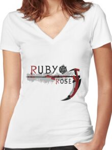RWBY - Ruby Rose Women's Fitted V-Neck T-Shirt