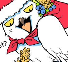 Funny snowy owl santa meme Sticker