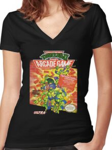 TMNT II: The Arcade Game Women's Fitted V-Neck T-Shirt