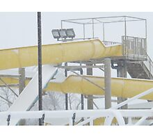 Snow and Ice on Water Park Slide Photographic Print