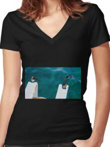 """Takeoff"", Busselton, Western Australia Women's Fitted V-Neck T-Shirt"