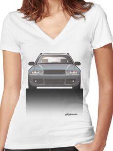 Modern Euro Icons Car Series Audi Rs4 A4 Avant Quattro B5 Women's Fitted V-Neck T-Shirt