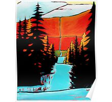 """""""Mountain Snow Trail"""" acrylic painting Poster"""