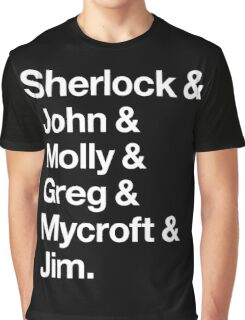 Helvetica Sherlock and John and Molly and Greg and Mycroft and Jim. (Dark Background) Graphic T-Shirt