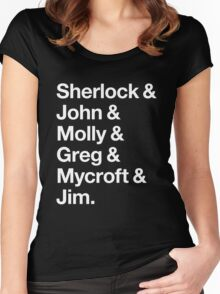 Helvetica Sherlock and John and Molly and Greg and Mycroft and Jim. (Dark Background) Women's Fitted Scoop T-Shirt