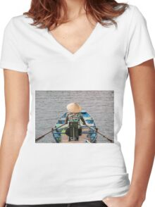 Vietnamese Lady Boat on Ngo Dong River Tam Coc Women's Fitted V-Neck T-Shirt