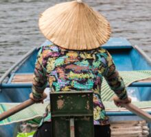 Vietnamese Lady Boat on Ngo Dong River Tam Coc Sticker