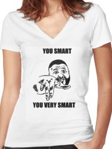 YOU SMART  Women's Fitted V-Neck T-Shirt