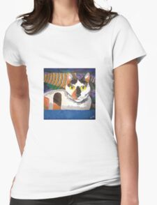 Calli Cat in the Tub Womens Fitted T-Shirt