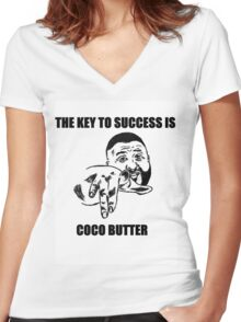 THE KEY TO SUCCESS IS COCO BUTTER Women's Fitted V-Neck T-Shirt