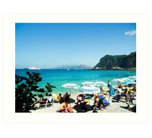 Under the Beach Umbrella : Capri : Bay of Naples, Italy Art Print