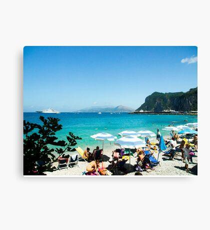 Under the Beach Umbrella : Capri : Bay of Naples, Italy Canvas Print