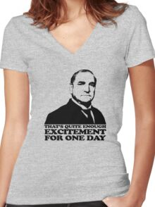 Downton Abbey Carson Excitement Tshirt Women's Fitted V-Neck T-Shirt