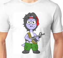 Illustration of a Brontosaurus dressed as Rambo. Unisex T-Shirt