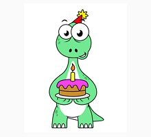 Illustration of a Brontosaurus with a birthday cake. Unisex T-Shirt