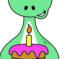 Illustration of a Brontosaurus with a birthday cake. Sticker