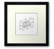"""""""Love is Precious"""" Graphic – Grey/Black Text Framed Print"""