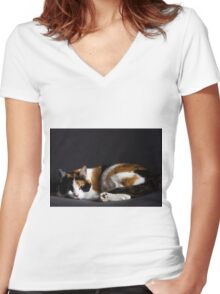 Pussy cat Women's Fitted V-Neck T-Shirt