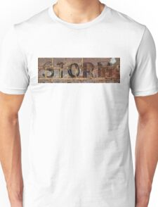 Word Storm with vintage writing on brick wall  Unisex T-Shirt