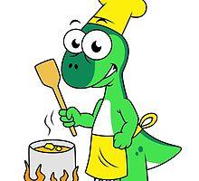 Illustration of a Parasaurolophus dinosaur cooking. by StocktrekImages