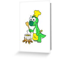 Illustration of a Parasaurolophus dinosaur cooking. Greeting Card