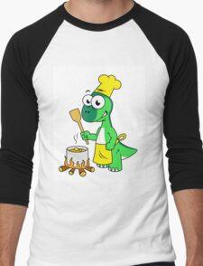 Illustration of a Parasaurolophus dinosaur cooking. Men's Baseball ¾ T-Shirt