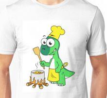 Illustration of a Parasaurolophus dinosaur cooking. Unisex T-Shirt